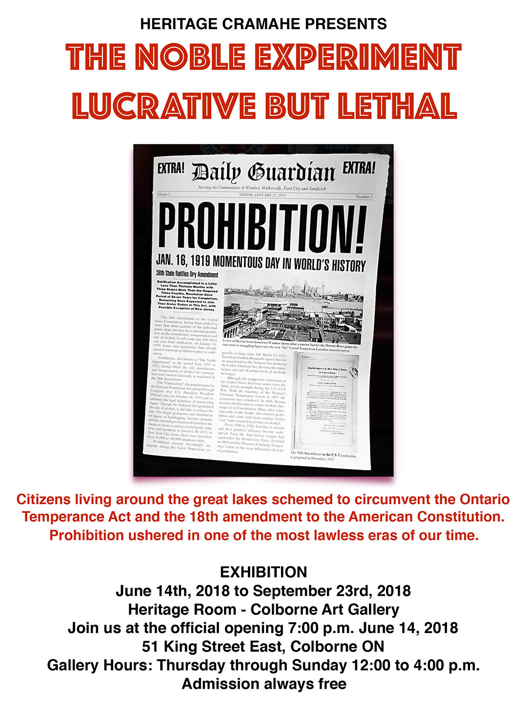 Heritage Cramahe presents The Noble Experiment, Lucrative but Lethal - Prohibition